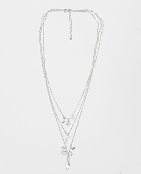Dreireihige Halskette mit Anhängern Gold