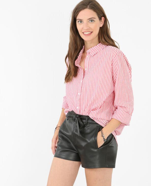 Camicia popeline a righe Rosso