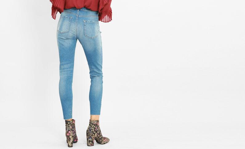 Jeans skinny destroy azul lavado