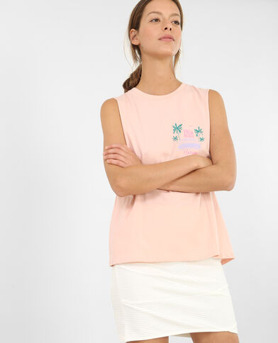Tanktopje Palm Beach bleekroze