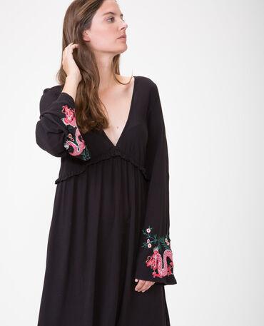 Besticktes Kleid in Trapezform Schwarz