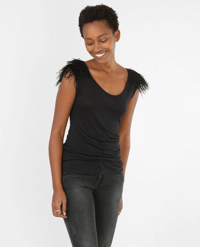 Camiseta de tirantes plumas negro