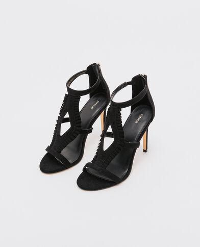 Sandales tige haute à volants noir