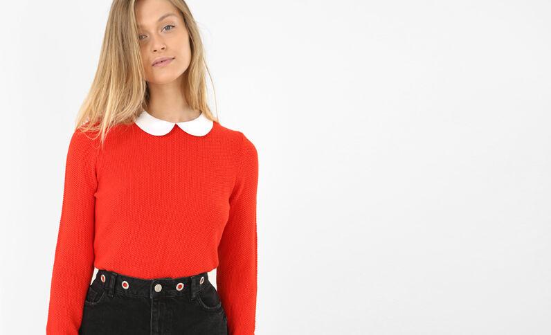Pullover mit Bubikragen Rot