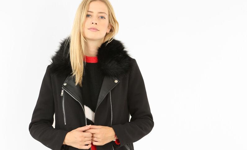 Mantel mit Reißverschluss Schwarz
