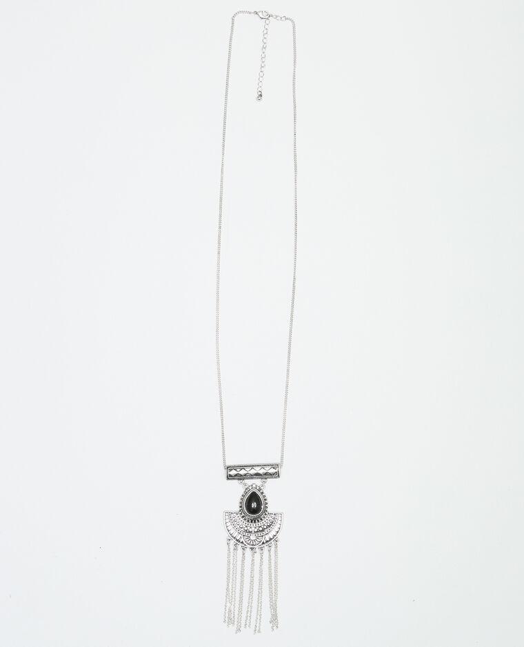 Collier sautoir ethnique gris argenté