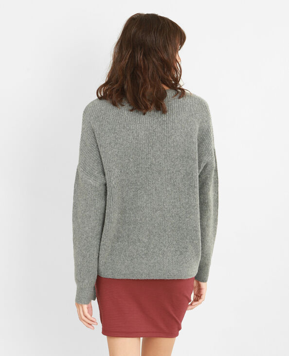 Pull oversize con coulisse grigio chiné