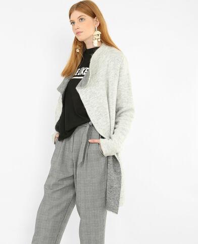 Lange blazer met sjaalkraag grijs