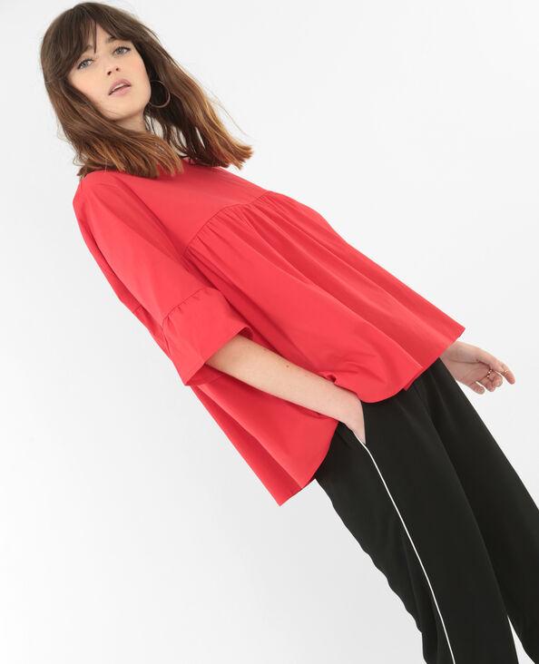 Blusa de popelina evasé rojo