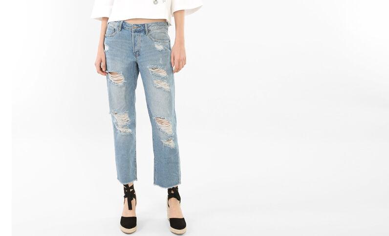 Destroy-Jeans in 7/8-Länge Blau