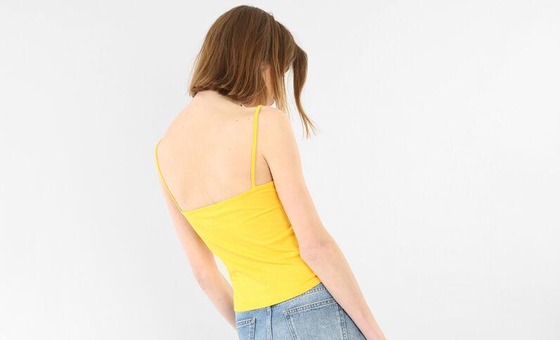 Cropped top côtelé jaune