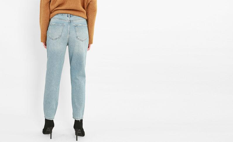 Mom- Jeans mit Perlendetail Blau