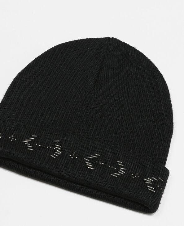 Bonnet application perles noir