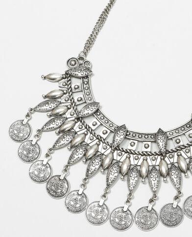 Halbmond-Halskette mit Anhängern Silberig
