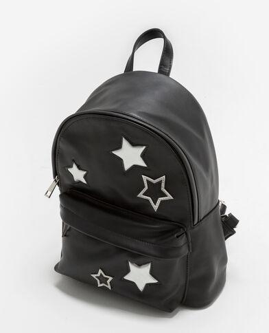 Rucksack mit silberfarbenen Sternen Schwarz