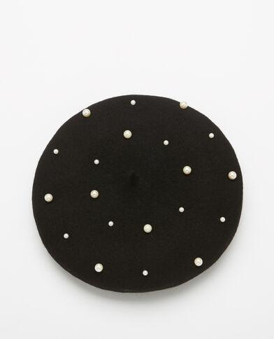 Baskenmütze mit Perlen Schwarz
