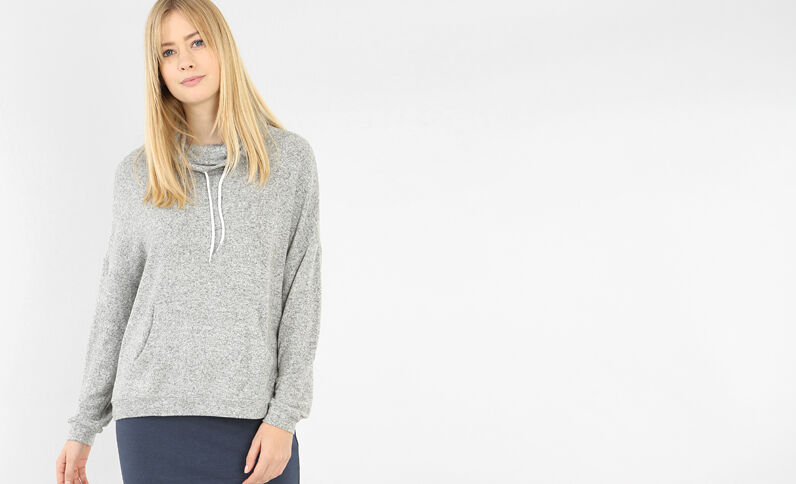 Sweat col montant gris chiné