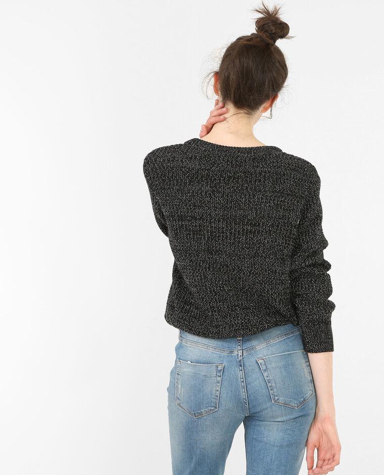 Melierter kurzer Pullover Schwarz