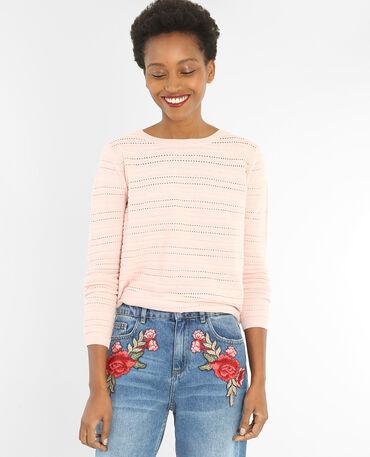 Pull maglia traforata rosa