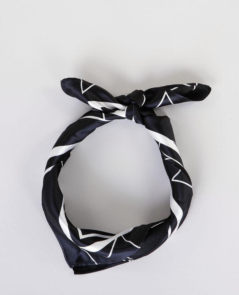 Bandana satinata bianco e nero nero