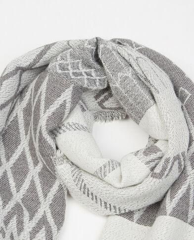 Sciarpa plaid tessuto grigio