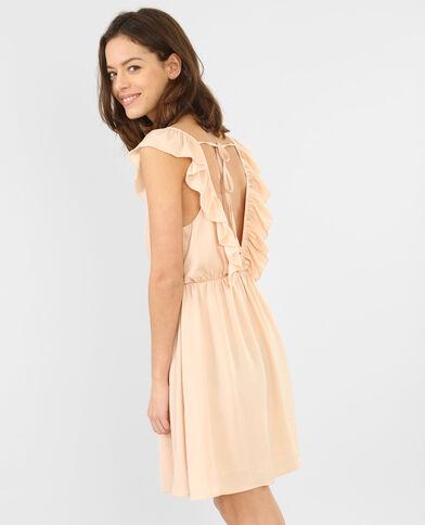 Rückenfreies Kleid mit Rüsche Altrosa