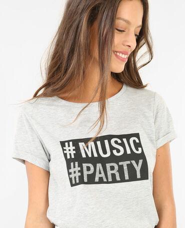 T-Shirt mit Schriftzug Grau meliert