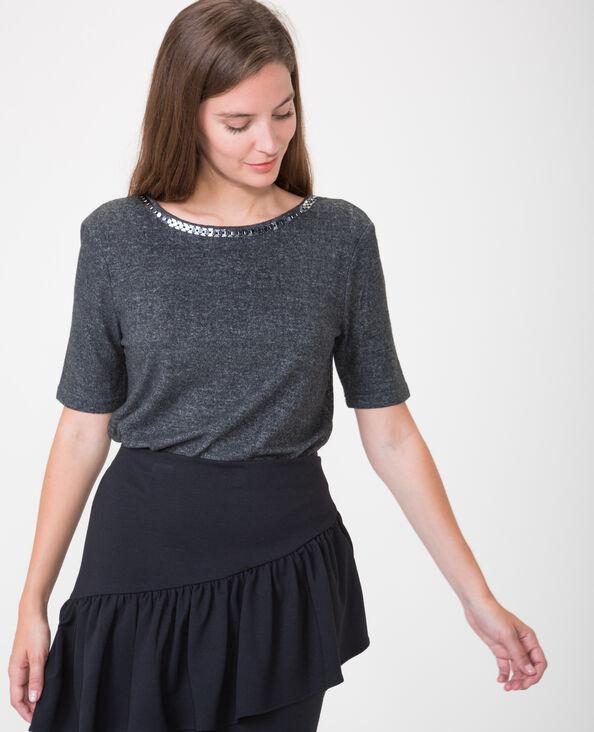 T-shirt met open rug grijs