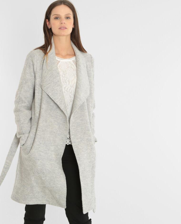 manteau drap de laine ceintur gris chin 281066830a08. Black Bedroom Furniture Sets. Home Design Ideas