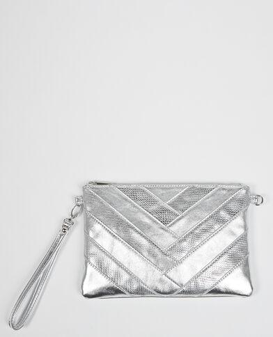 Clutch in Silber mit Zickzack-Motiv Silber