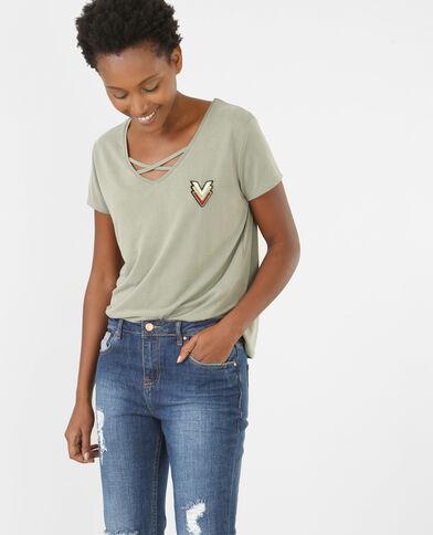 T-Shirt mit gekreuztem Ausschnitt Grün