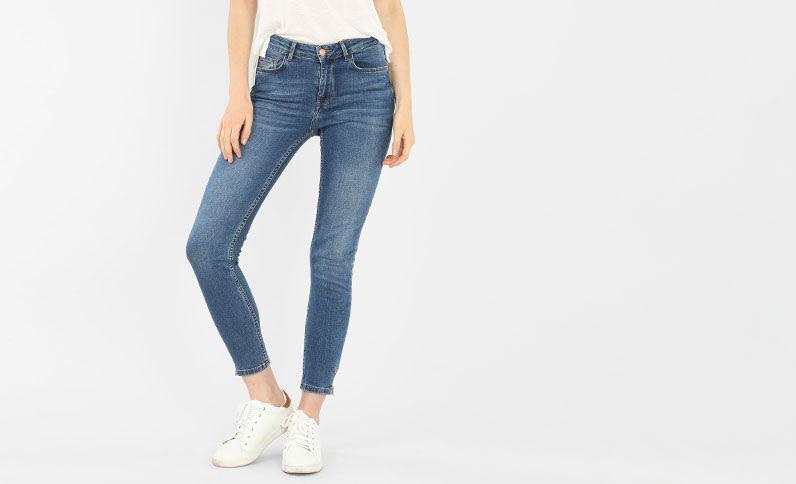 Jean slim zippé bleu denim