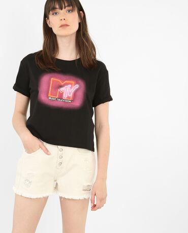 T-shirt motif rétro noir