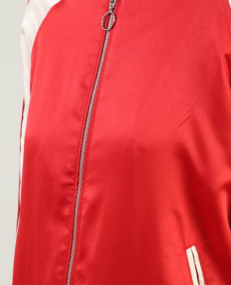 Bomber satiné bicolore rouge