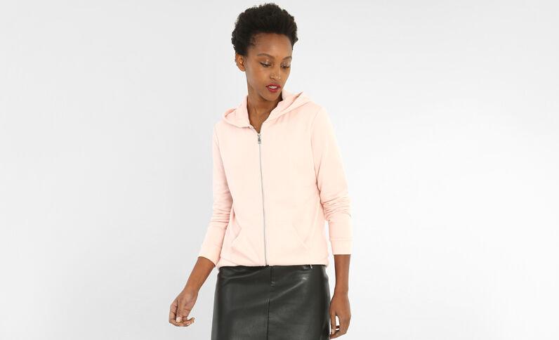 Sweat zippé à capuche rose