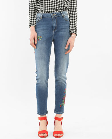 Bestickte Skinny-Jeans mit hoher Taille Denimblau