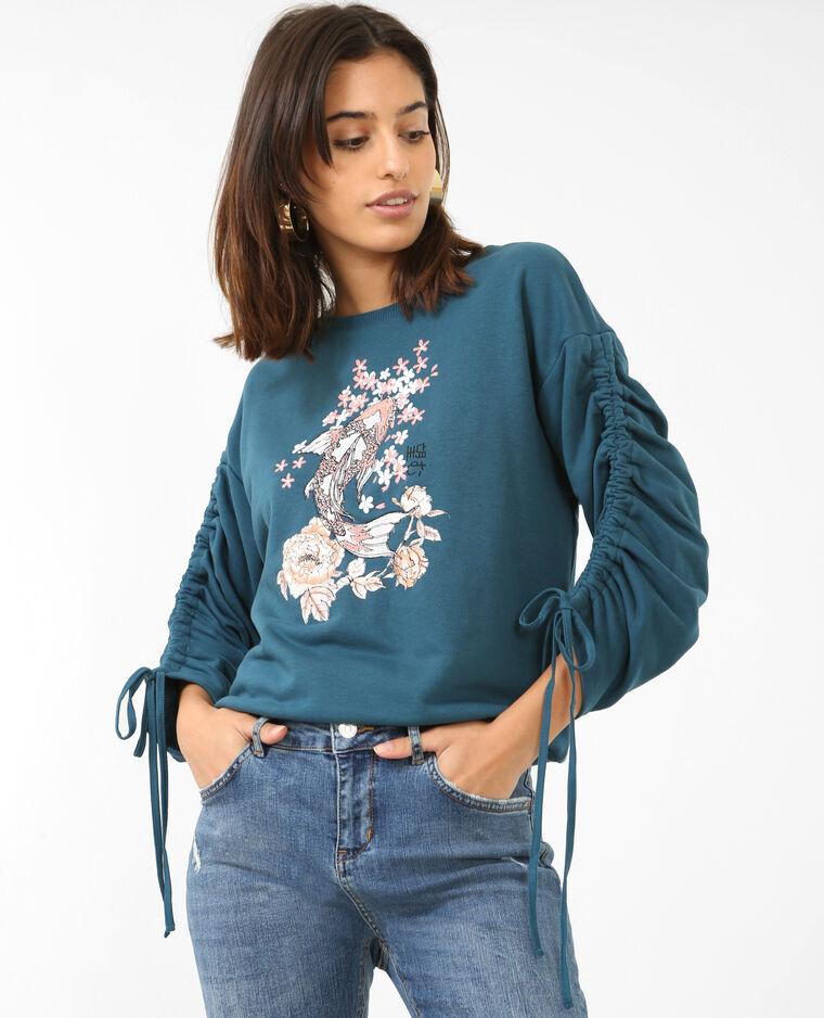 Sweatshirt mit Stickerei Türkis