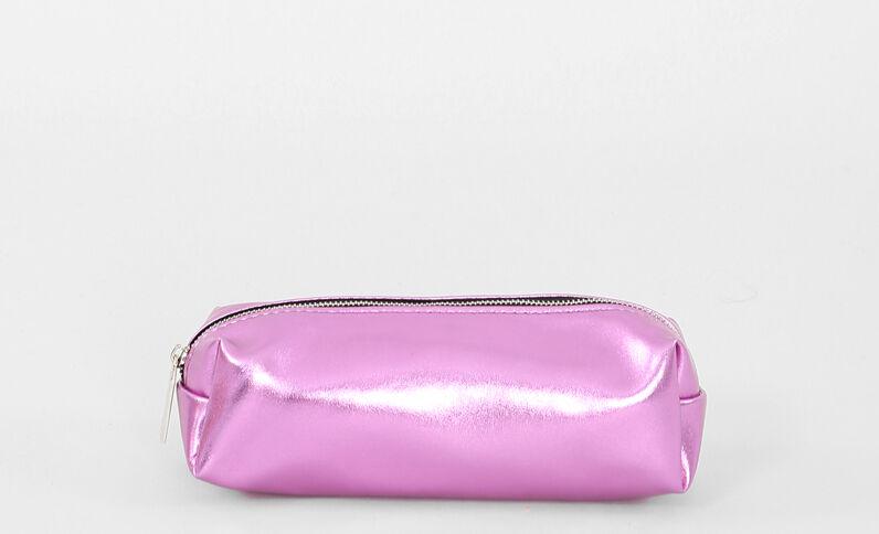 Beutel im Metall-Look. Pink