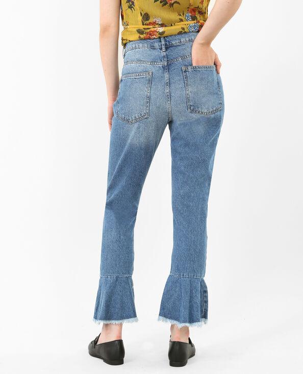 Rechte jeans met ruches denimblauw