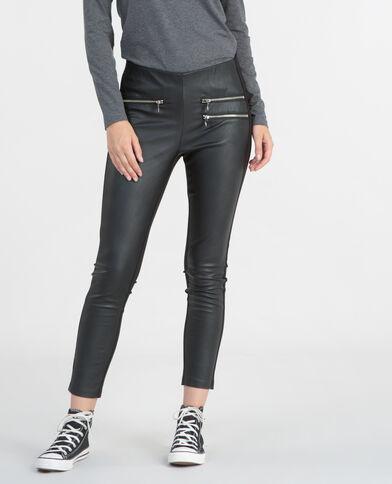 Leggings aus Materialmix Schwarz