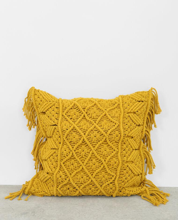 housse de coussin en crochet jaune 50 907319a00a00 pimkie. Black Bedroom Furniture Sets. Home Design Ideas