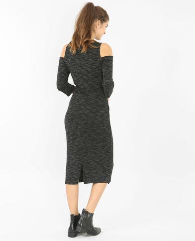Kleid mit Peekaboo-Ärmeln Grau