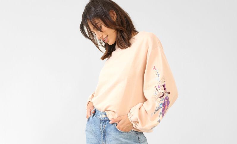 Sweatshirt mit Stickerei Zartrosa