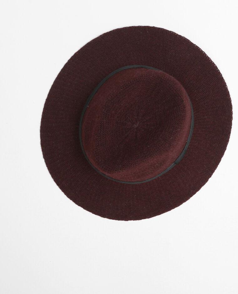 Chapeau fedora tricoté grenat