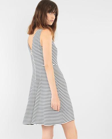 Gestreiftes Skater-Kleid Altweiß