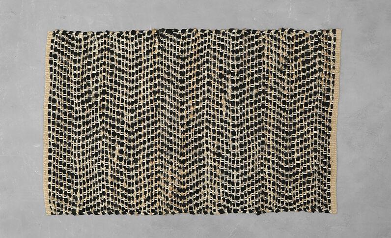 Teppich aus Materialmix Schwarz