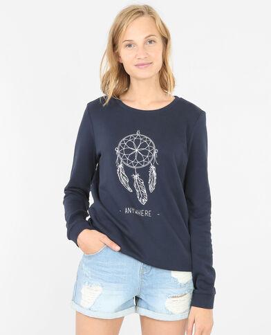 Besticktes Sweatshirt Blau