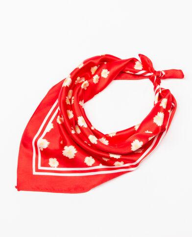 Pañuelo satinado de flores rojo