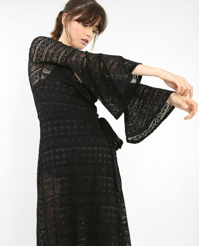 Robe longue en dentelle noir