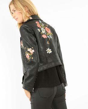 Biker-Jacke mit Stickereien und Nieten Schwarz